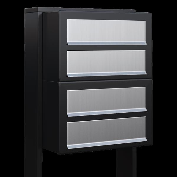 Skrzynka lokatorska Cube for Four czarna z klapą ze stali szlachetnej