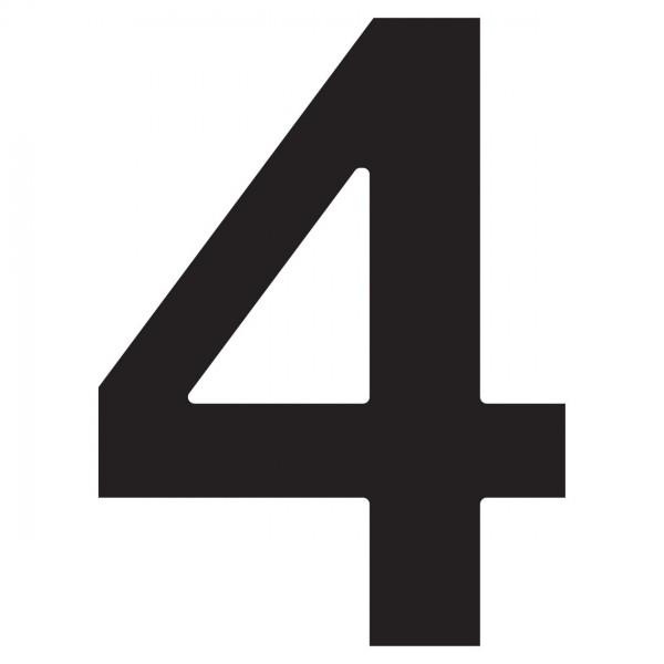 """Numer na dom """"4"""" czarny"""