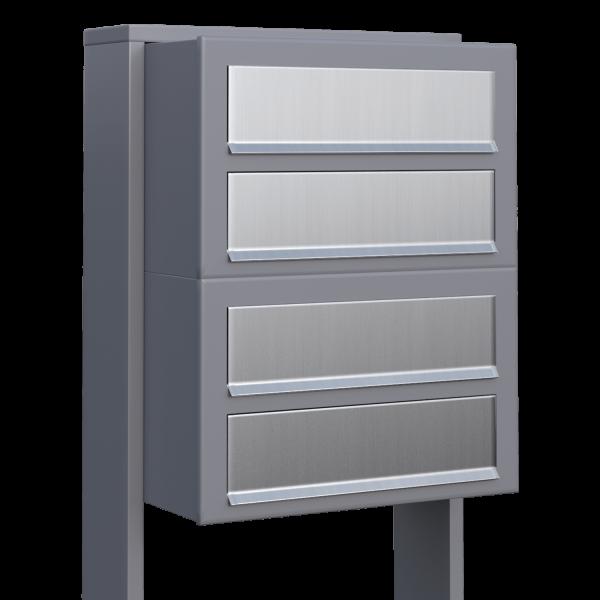 Skrzynka lokatorska Cube for Four szara metaliczna z klapą ze stali szlachetnej