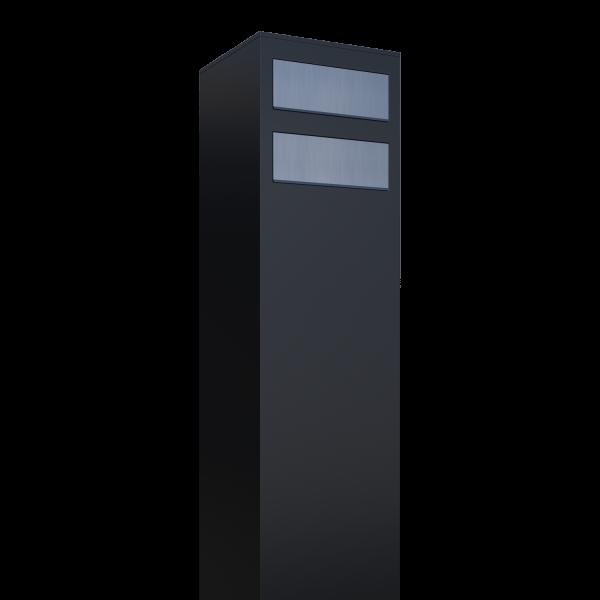 Wolnostojaca skrzynka na listy Monolith for two czarna z klapą ze stali szlachetnej